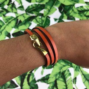 5 for $25 Orange Snake Gold Leather Wrap Bracelet
